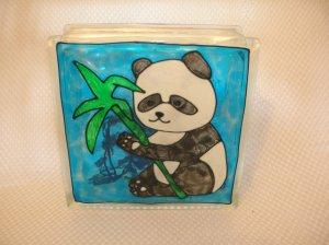 Hand Painted Panda Bear Glass Block Light