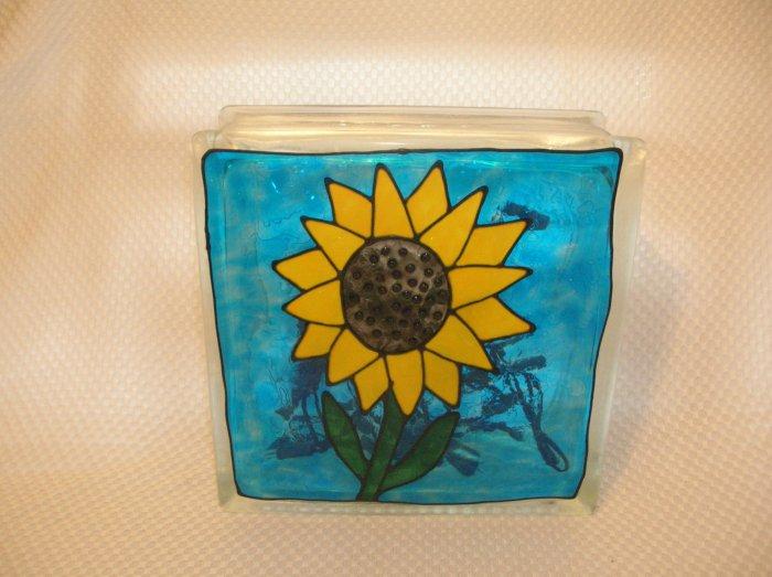 Hand Painted Sunflower Glass Block Light