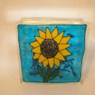 Hand Painted Sunflower Glass Block Light