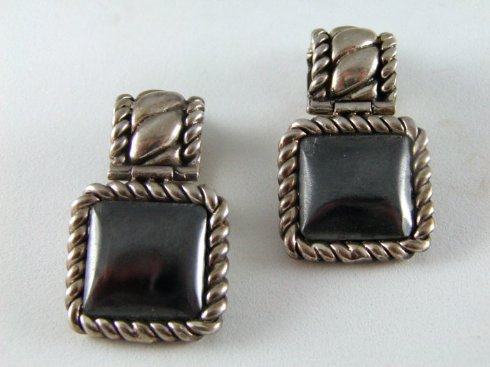 VINTAGE STERLING SILVER HEMATITE CLIP ON EARRINGS