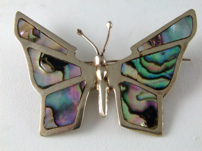 VINTAGE MEXICAN STERLING SILVER ABALONE BUTTERFLY BROOCH