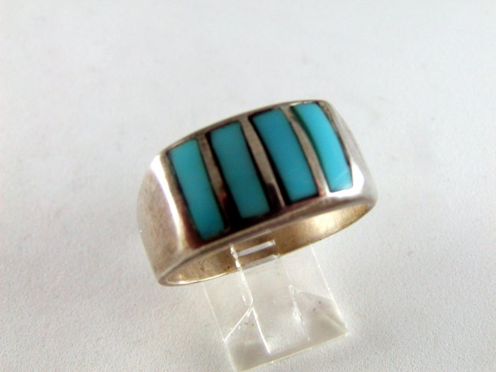 VINTAGE NATIVE AMERICAN STERLING SILVER TURQUOISE RING SZ 12