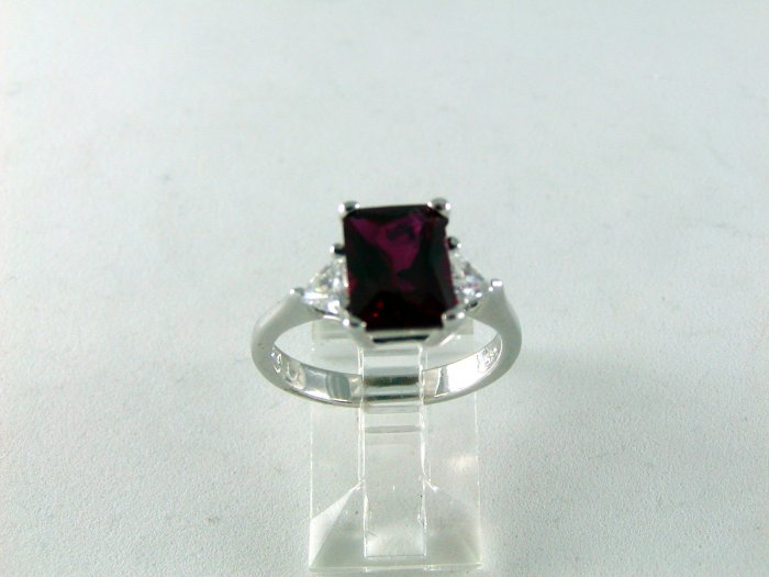 VINTAGE STYLE RED CZ RING SZ 7 1/4