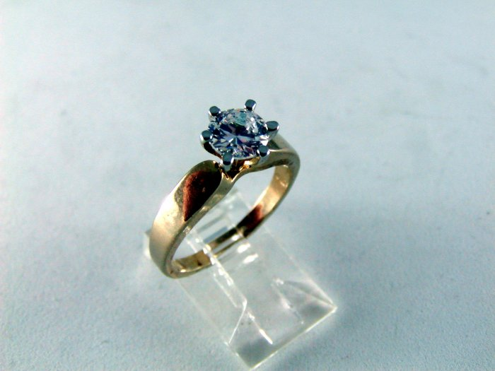 VINTAGE STYLE STERLING SILVER GOLD VERMEIL 1 CT CZ ENGAGEMENT RING SZ 7 1/4
