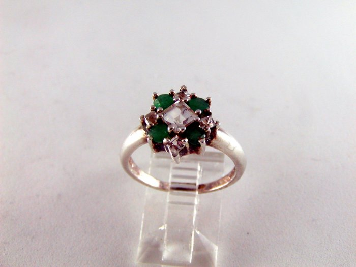 VINTAGE STYLE STERLING SILVER EMERALD CZs RING SZ 7 1/4