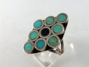 VINTAGE NATIVE AMERICAN STERLING SILVER TURQUOISE RING SZ 7 1/2