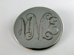 VINTAGE STERLING SILVER INITIAL BROOCH MME BAB