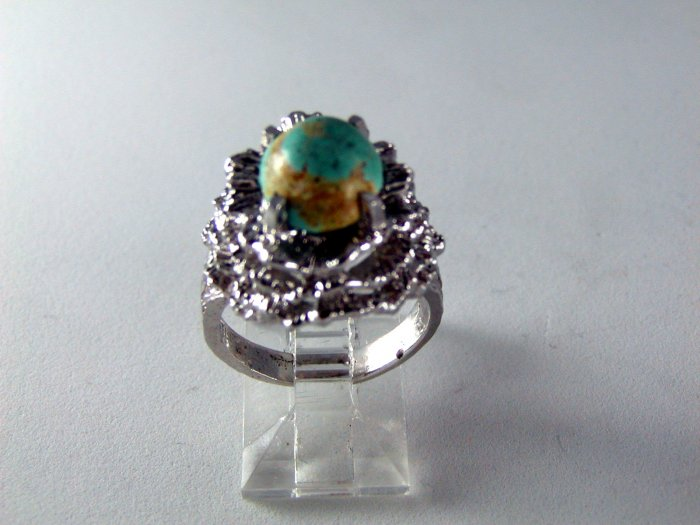 VINTAGE STYLE STERLING SILVER TURQUOISE ? RING SIZE 6