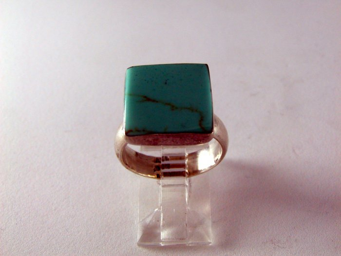 VINTAGE MEXICO STERLING SILVER TURQUOISE RING SIGNED  sz 7 1/2
