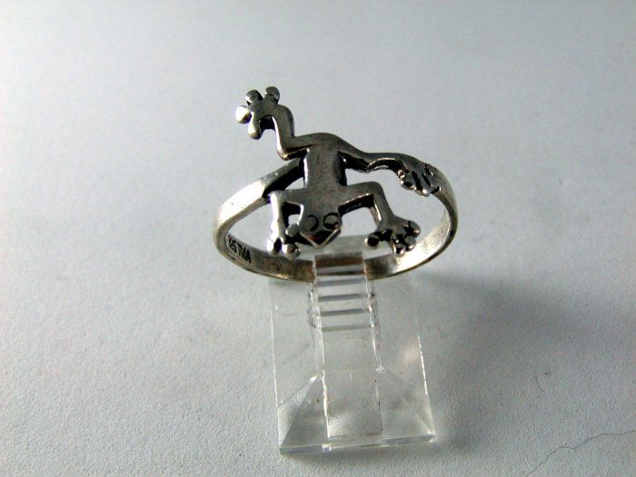 GREAT STERLING SILVER FROG RING SZ 8 3/4 LET HIM BE YOUR PRINCE