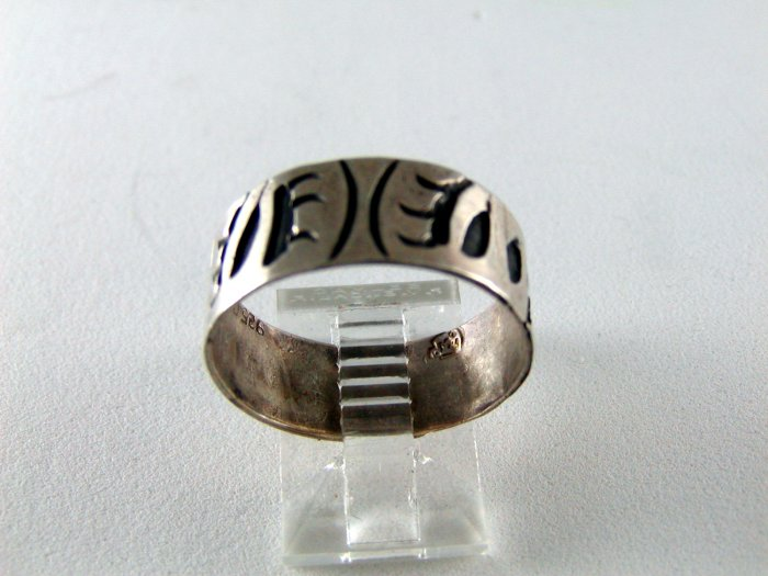 VINTAGE MEXICAN MEXICO STERLING SILVER BAND RING SIZE 9 1/2