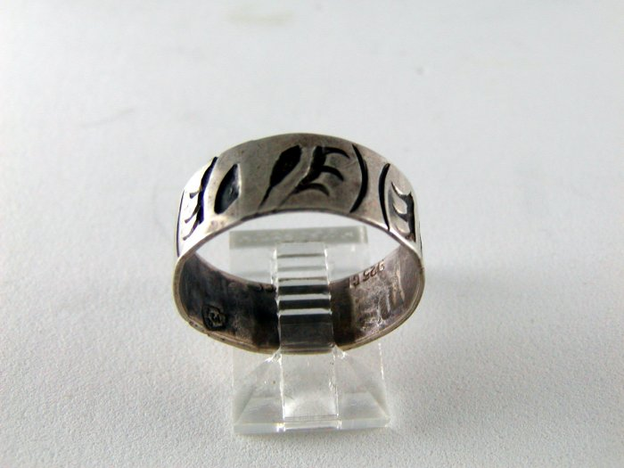 VINTAGE MEXICAN MEXICO TAXCO STERLING SILVER RING SIZE 9 1/2 BAND