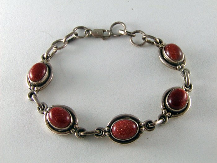 STERLING SILVER AND SPARKLY COPPERISH BRACELET