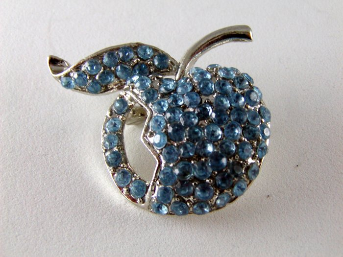 VINTAGE BLUE APPLE RHINESTONES FOR THE TEACHER