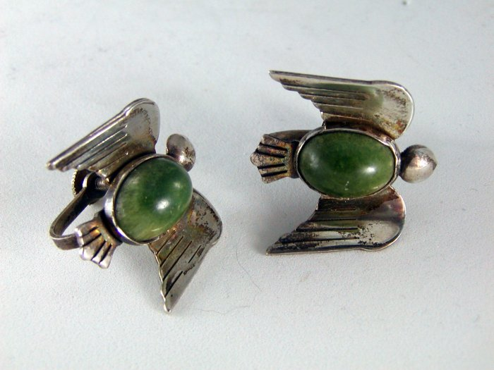 VINTAGE MEXICAN MEXICO STERLING SILVER SCREW BACK BIRD EARRINGS