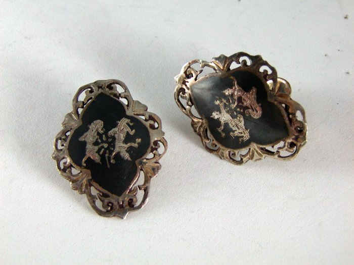 VINTAGE SIAM STERLING SILVER NIELLO CLIP ON EARRINGS