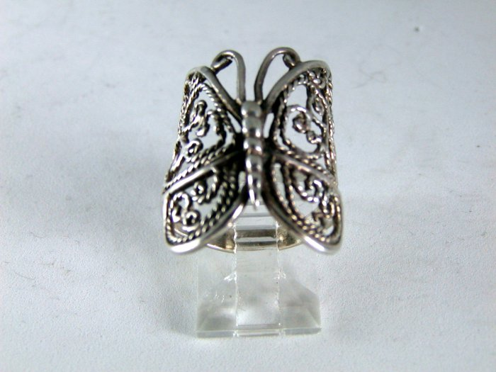 VINTAGE HANDCRAFTED STERLING SILVER BUTTERFLY RING SZ 6 1/4