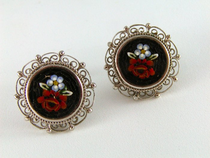 VINTAGE MICRO MOSAIC RED RED ROSE CLIP ON EARRINGS