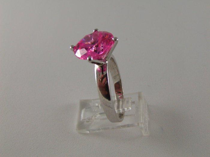 VINTAGE STYLE STERLING SILVER PINK CZ RING SIZE 9 1/4
