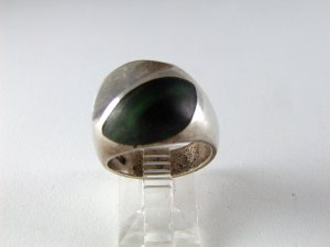 VINTAGE MEXICAN STERLING SILVER MALACHITE RING SZ 6 1/4