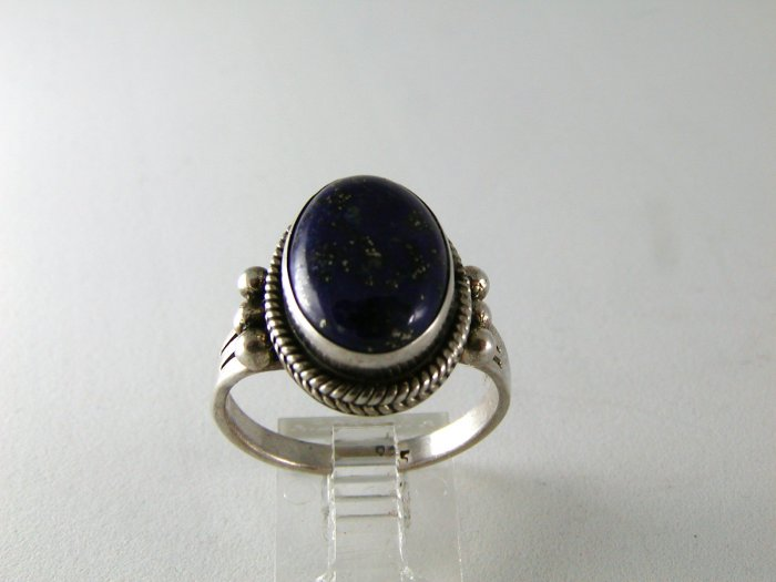VINTAGE STERLING SILVER LAPIS RING SIZE 8 3/4