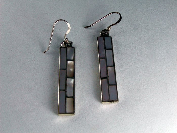 NATIVE AMERICAN STERLING SILVER MOTHER OF PEARL PIERCED EARRINGS