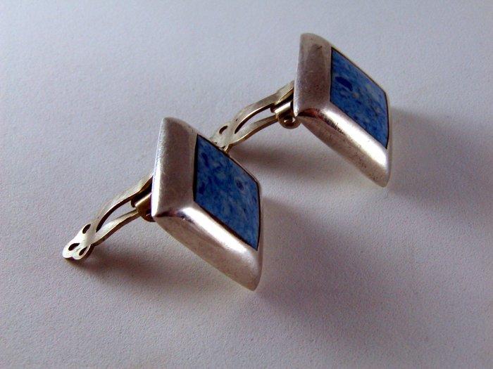 STERLING SILVER BLUE ONYX CLIP ON EARRINGS