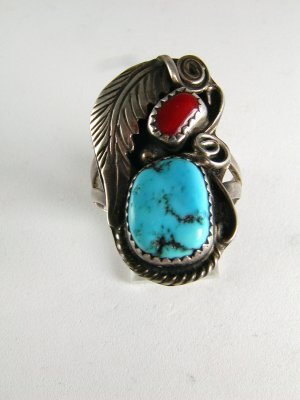 VINTAGE NATIVE AMERICAN SILVER TURQUOISE CORAL SIGNED RING SIZE 10