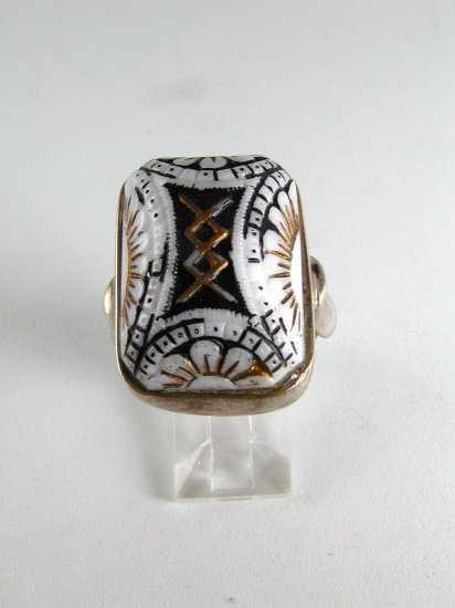 GOTHIC RENAISSANCE EGYPTIAN VINTAGE STERLING SILVER RING SIZE 8