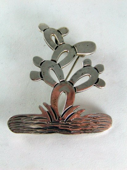 VINTAGE MEXICAN MEXICO TAXCO STERLING SILVER CACTUS BROOCH PENDANT