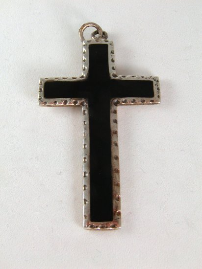 VINTAGE STERLING SILVER BLACK ONYX CROSS