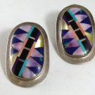 NATIVE AMERICAN ZUNI STERLING SILVER TURQUOISE BLACK ONYX ABALONE MOTHER OF PEARL PIERCED EARRINGS