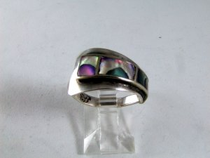 VINTAGE MEXICAN MEXICO TAXCO STERLING SILVER ABALONE RING SIZE 7