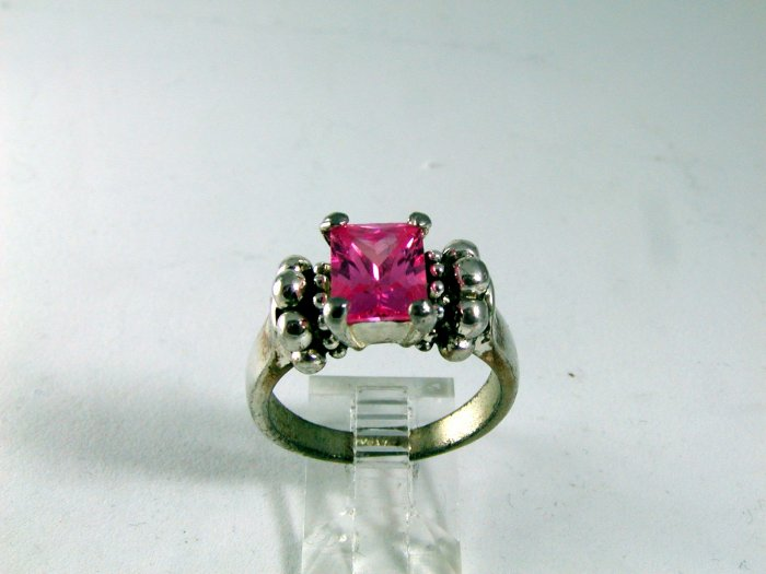 VINTAGE STYLE STERLING SILVER PINK CZ RING SIZE 8 1/4