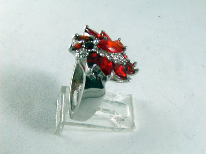 STERLING SILVER ORANGE CZs COCKTAIL RING SIZE 6 1/2