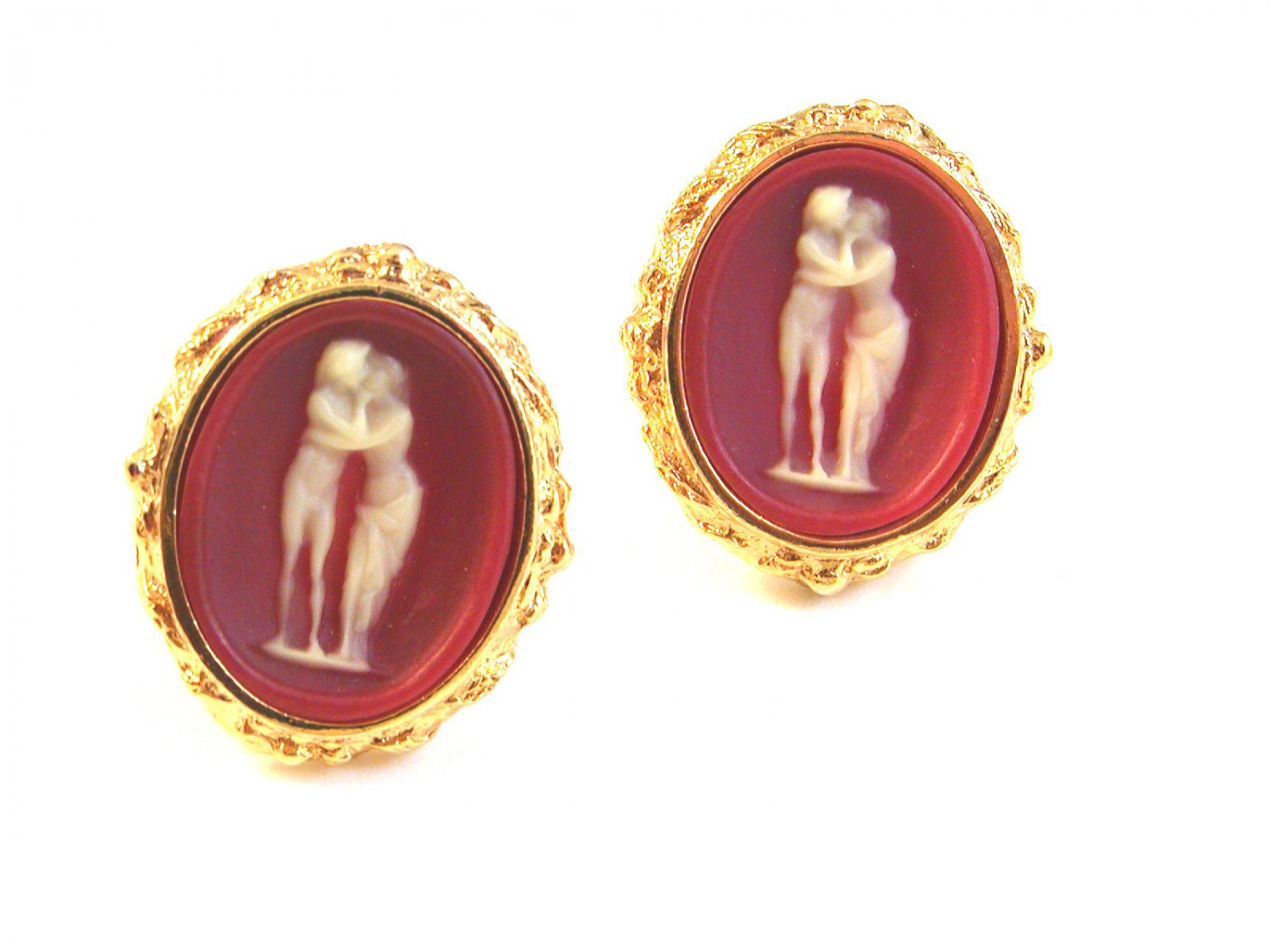 1970's Gold Tone Roman Couple in Pink Cufflinks