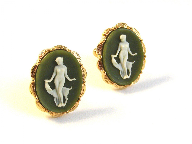 1970's Gold Tone Roman Woman in Green Cufflinks