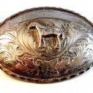 """Vintage Mexican Alpaca Silver Horse Pony Western Cowboy Belt Buckle 5"""" X 3 1/2"""""""