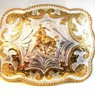 """Mexican Alpaca Silver Bull Riding Rodeo Belt Buckle 4 1/4"""" X 3 1/2"""""""