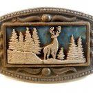 Vintage Buck Deer in Woods Belt Buckle Signed CII New York