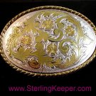 Western Silver & Gold 2 Tone Rodeo Cowboy Belt Buckle