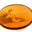 Vintage Scrimshaw ? 2 Ducks in a Pond Belt Buckle