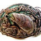 Vintage 1987 Big Mouth Bass Belt Buckle by Great American Buckle U.S.A.