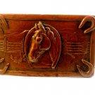 Vintage 1920's - 1940's Copper Horse Head Horse Shoe Western Belt Buckle