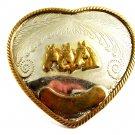 True Vintage Western 3 Horse Heads Heart German Silver Belt Buckle 82814