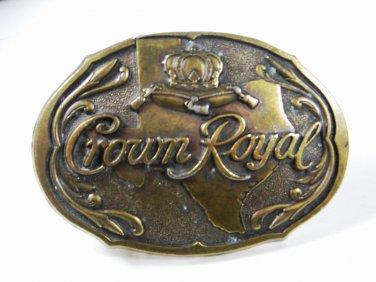 Vintage Crown Royal Brass Belt Buckle Unbranded 73015
