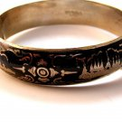 Vintage Siam Sterling Black Niello City In A Boat Bangle Bracelet