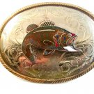 Vintage Silver & Gold Tone Enameled Bass Fish Western Belt Buckle