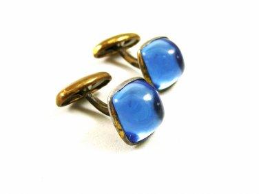 Art Deco / True Vintage 1950's Silvertone & Blue Cufflinks Unmarked 101514