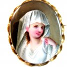 Vintage Hand Painted Porcelain Young Lady in White Brooch